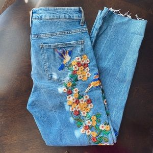 Free People Floral Embroidered Mom Jeans